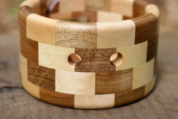 Segmented Yarn Bowl of Natural Maple and Walnut Wood, Crochet Bowl with Stair-step Pattern, Circle Knitting Organizer #crochetbowl