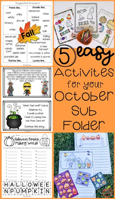 5 Easy  Fun Activities for your October Sub Folder Be prepared for - halloween activities ideas