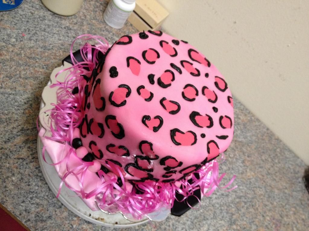 pink leopard print birthday cake Pink leopard print cake by