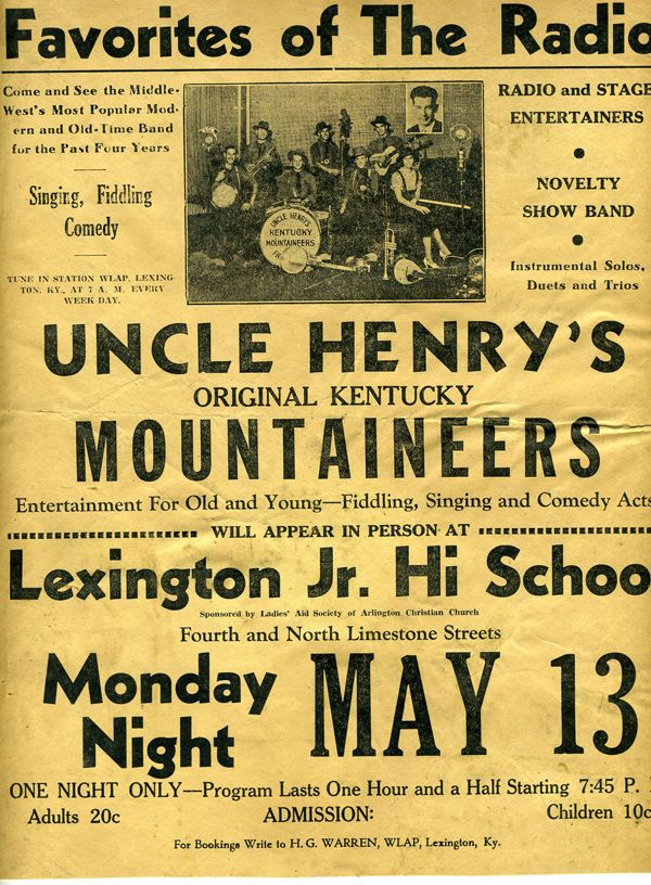 Rare 1934 Poster Uncle Henry's Original Kentucky Mountaineers Band Lexington KY
