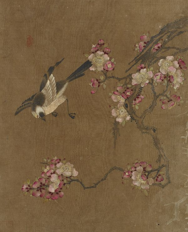 Bird and flowers, 1368-1644. Ming dynasty - Ink and color on silk