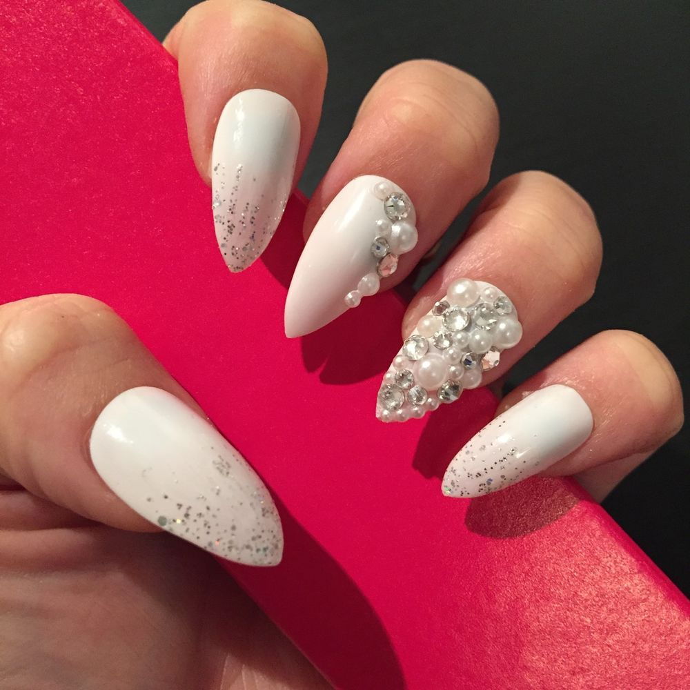 Hand Painted Full Cover False Nails. Stiletto Bridal ...