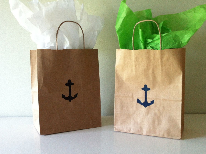 Kraft Paper Bags Wedding Welcome Nautical Favor Anchor