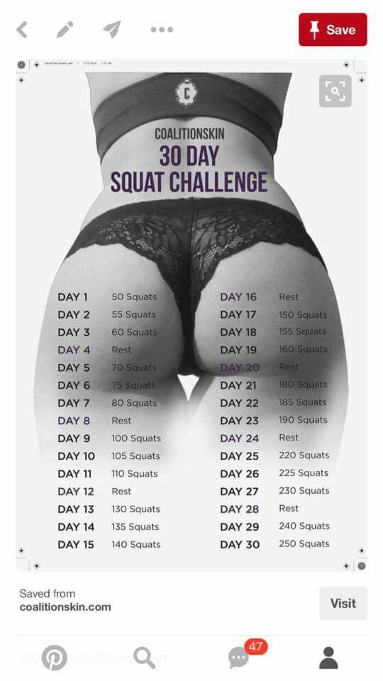 Pin by Gretta Eanes on Better Me | 30 day squat challenge