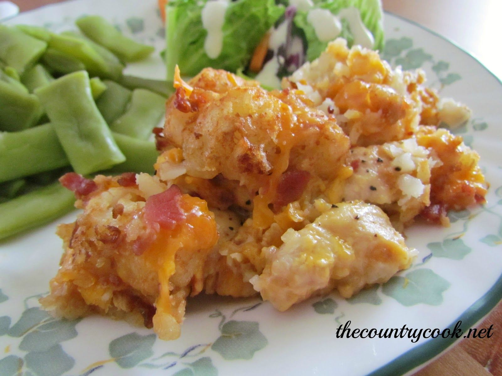 The Country Cook: Cheesy Chicken Tater Tot Casserole Slow Cooker or Oven