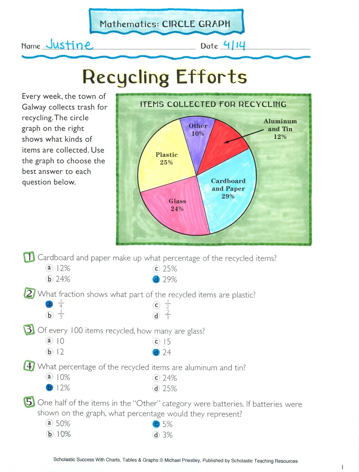 Recycling Efforts Math Circle Graph 2 Md D 10 3 Nf A 1 Circle Graph Graphing Worksheets Touch Math Printables Pie graph worksheets for grade