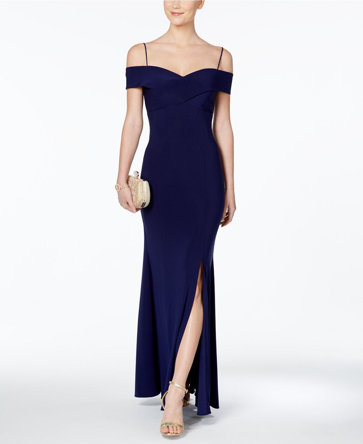 Nightway Women/'s Glitter Lace Off-The-Shoulder Gown