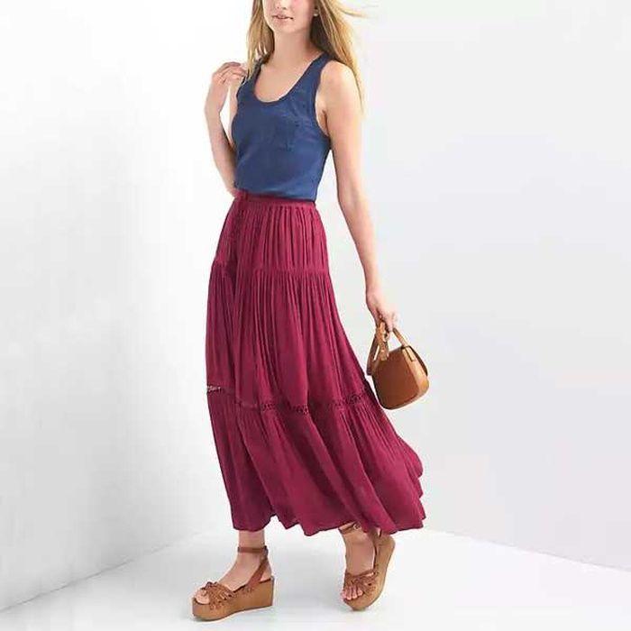 Rank & Style - GAP Tiered Maxi Skirt #rankandstyle