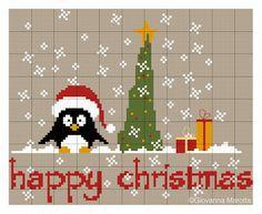 noël - christmas - sapin - pingouin - point de croix - cross stitch - Blog : http://broderiemimie44.canalblog.com/