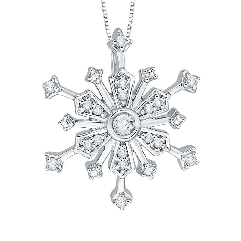 1 10 Ct T W Diamond Layered Snowflake Pendant In 10k White Gold With Images Snowflake Pendant White Gold