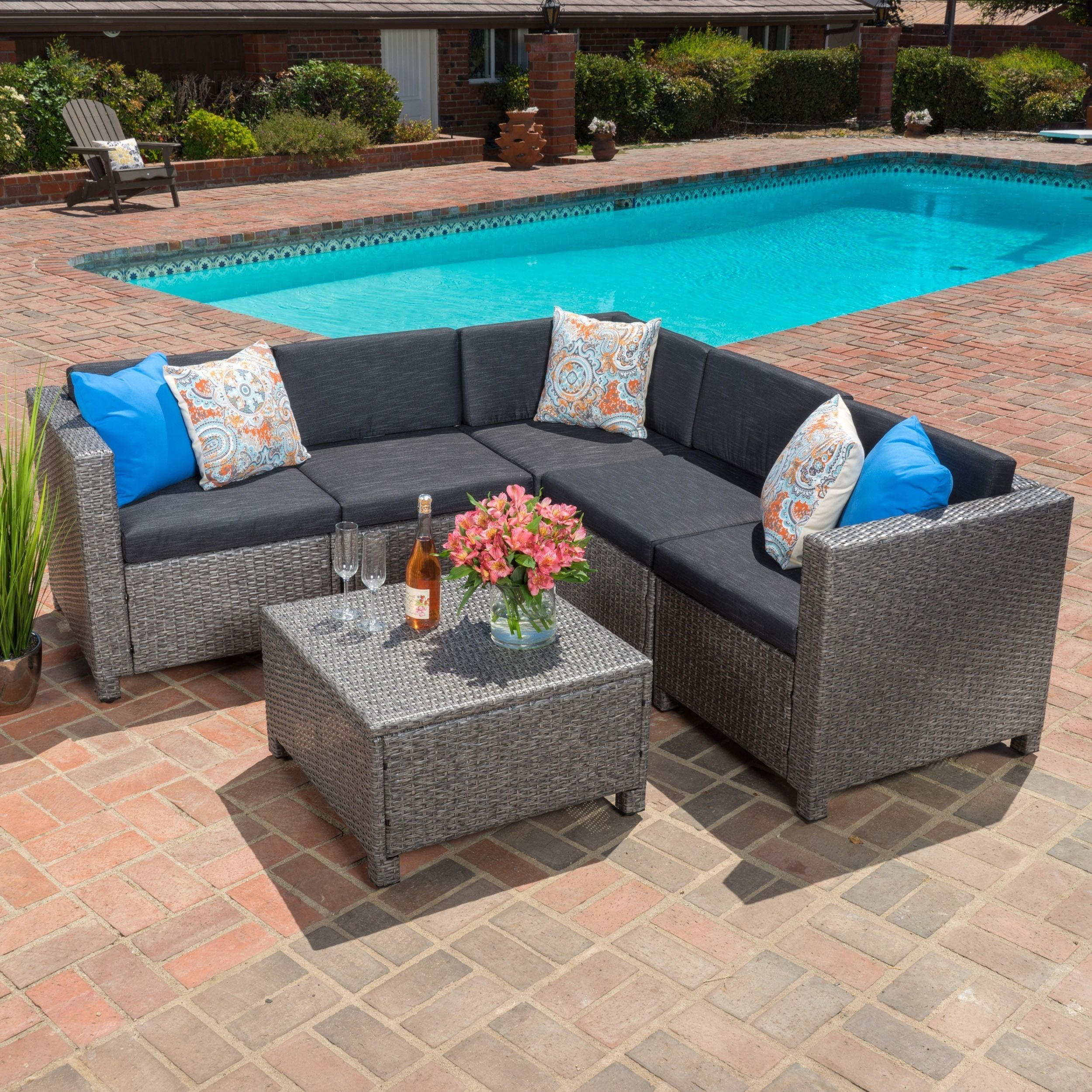 christopher knight home puerta grey outdoor wicker sofa set. Puerta Outdoor 6-piece Wicker V-Shaped Sectional Sofa Set By Christopher Knight Home Grey O