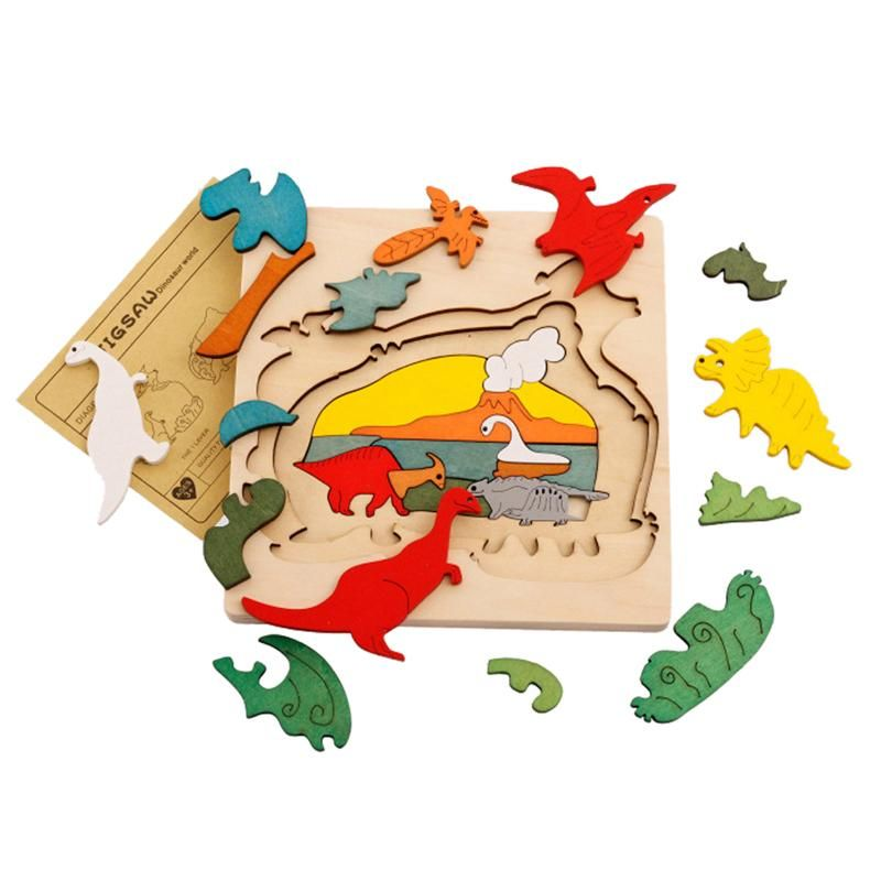 Wooden Puzzle Toys Kids Dinosau Animal Transport Multi-dimensional Jigsaw  Wooden Learning Puzzle Children Gift