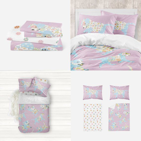 Purple Puppy And Floral Nursery Bedding Set Floral Nursery