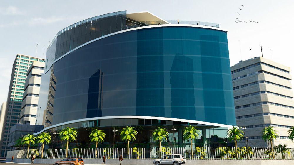 Fachada de edificio con piel de vidrio render exteriores for Fachadas edificios modernos