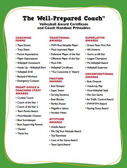 volleyball award certificate