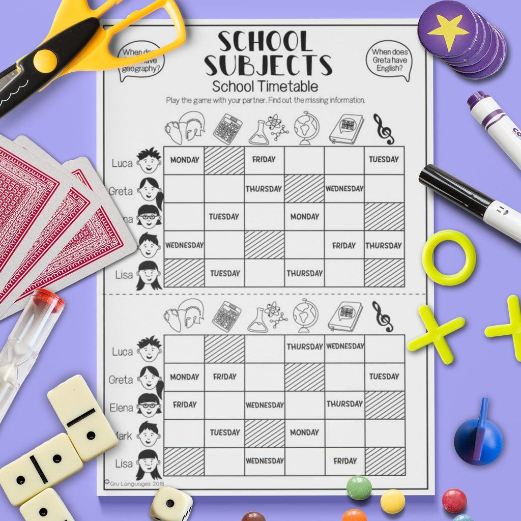 School Subjects Timetable Game
