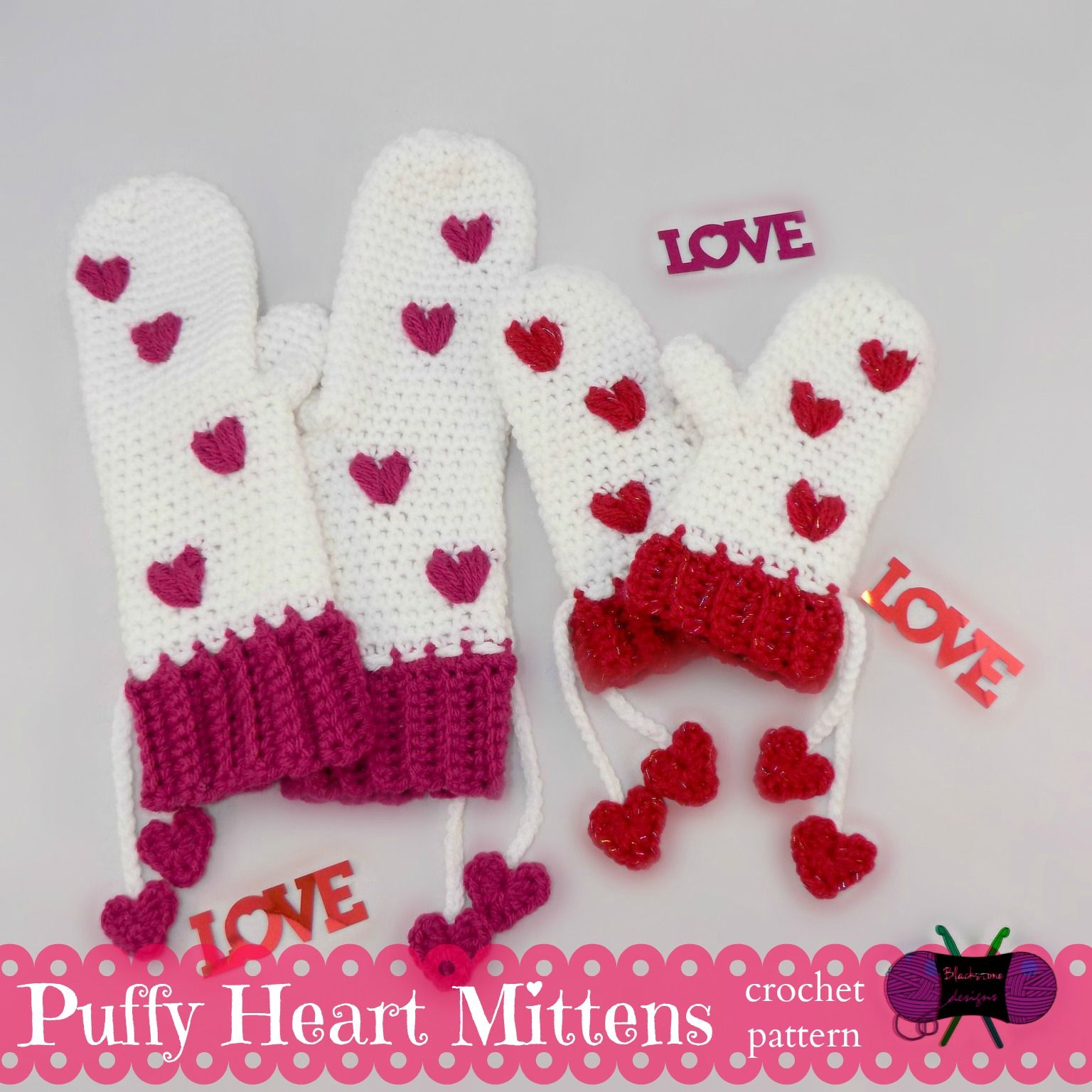 Puffy Heart Mittens pattern by Sonya Blackstone | Guantes