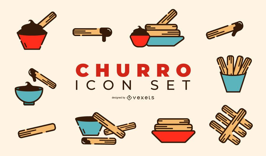 Churro Design Icon Set #AD , #spon, #affiliate, #Design, #Icon, #Set, #Churro