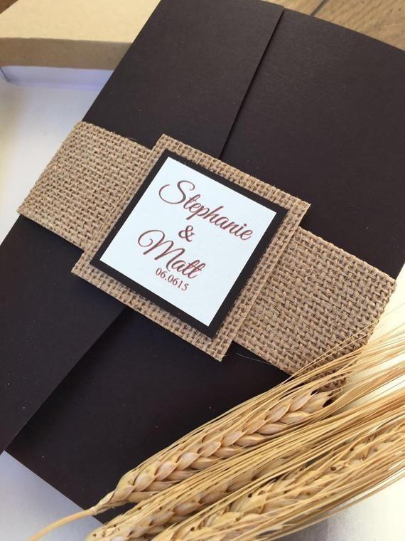 Rustic Wedding Invitation with wheat – earthy burlap wedding invitations – fall harvest brown invitation – pocket folder invitations