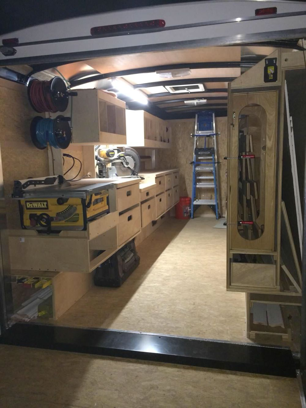 Cabinets For Cargo Trailers Birch Cabinets In A Enclosed Trailer Mobile Wood Working Station