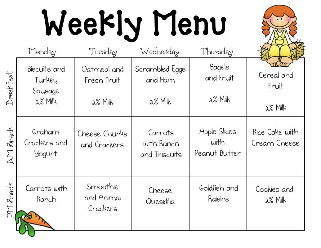 Daycare Menu  Kids Menu Templates