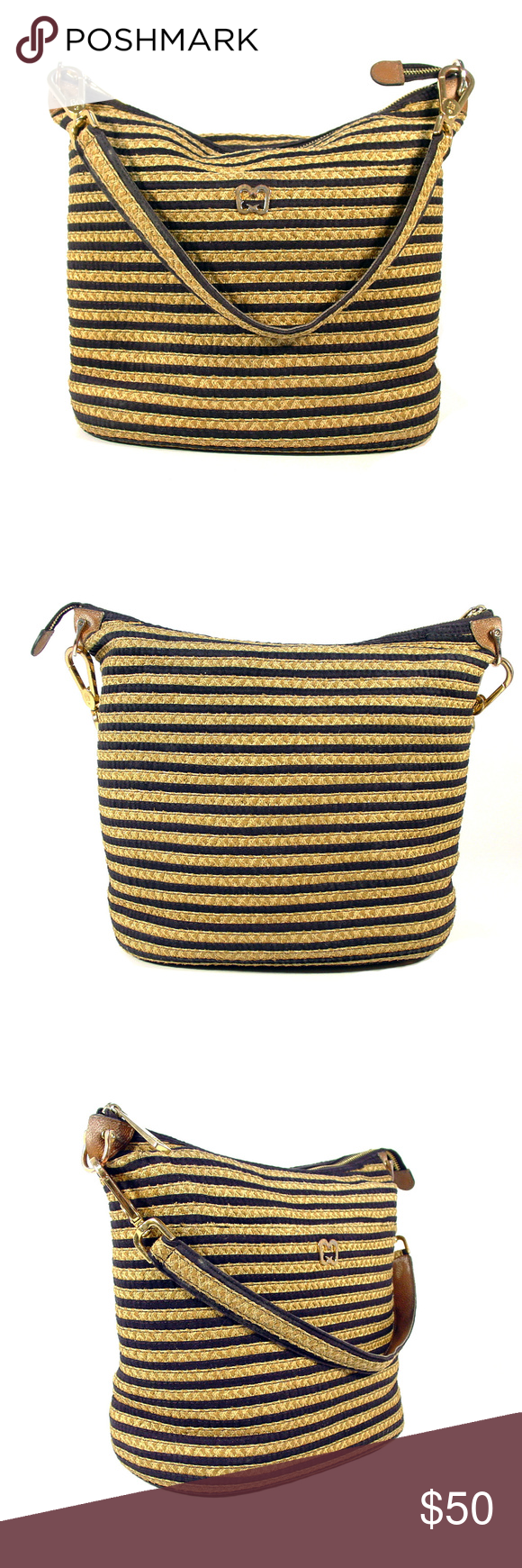 ERIC JAVITS Black and Tan Striped Summer Hobo Classic ...