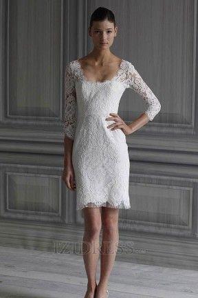 Sheath/Column Square Lace Mini Wedding Dresses