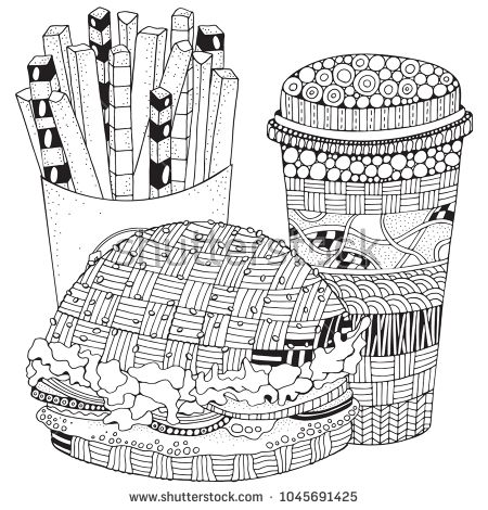 fast food burger french fries drink black and white vector doodle fast food pattern