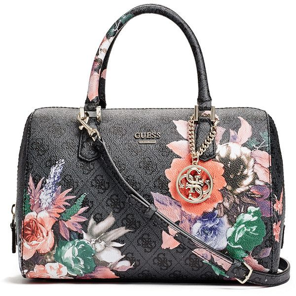 GUESS Linea Floral-Print Logo Box Satchel ($118) ❤ liked on ...