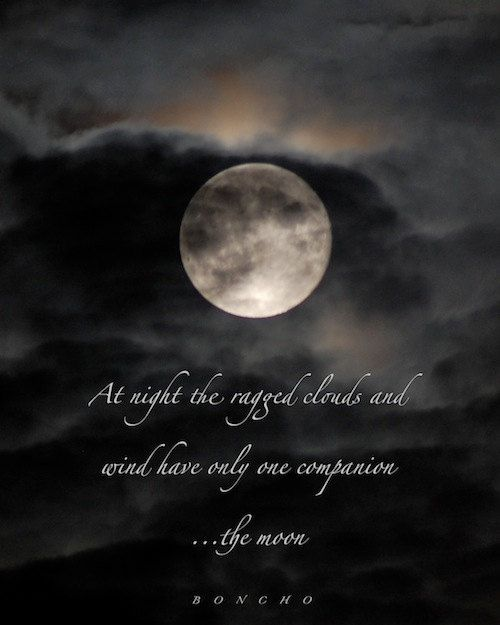 The ragged clouds & wind  Boncho quotation moon by moondreamin, $25.00