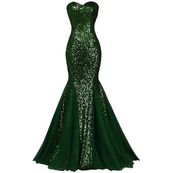 Women\'s Sequins Strapless Mermaid Long Tulle Evening Banquet Prom ...