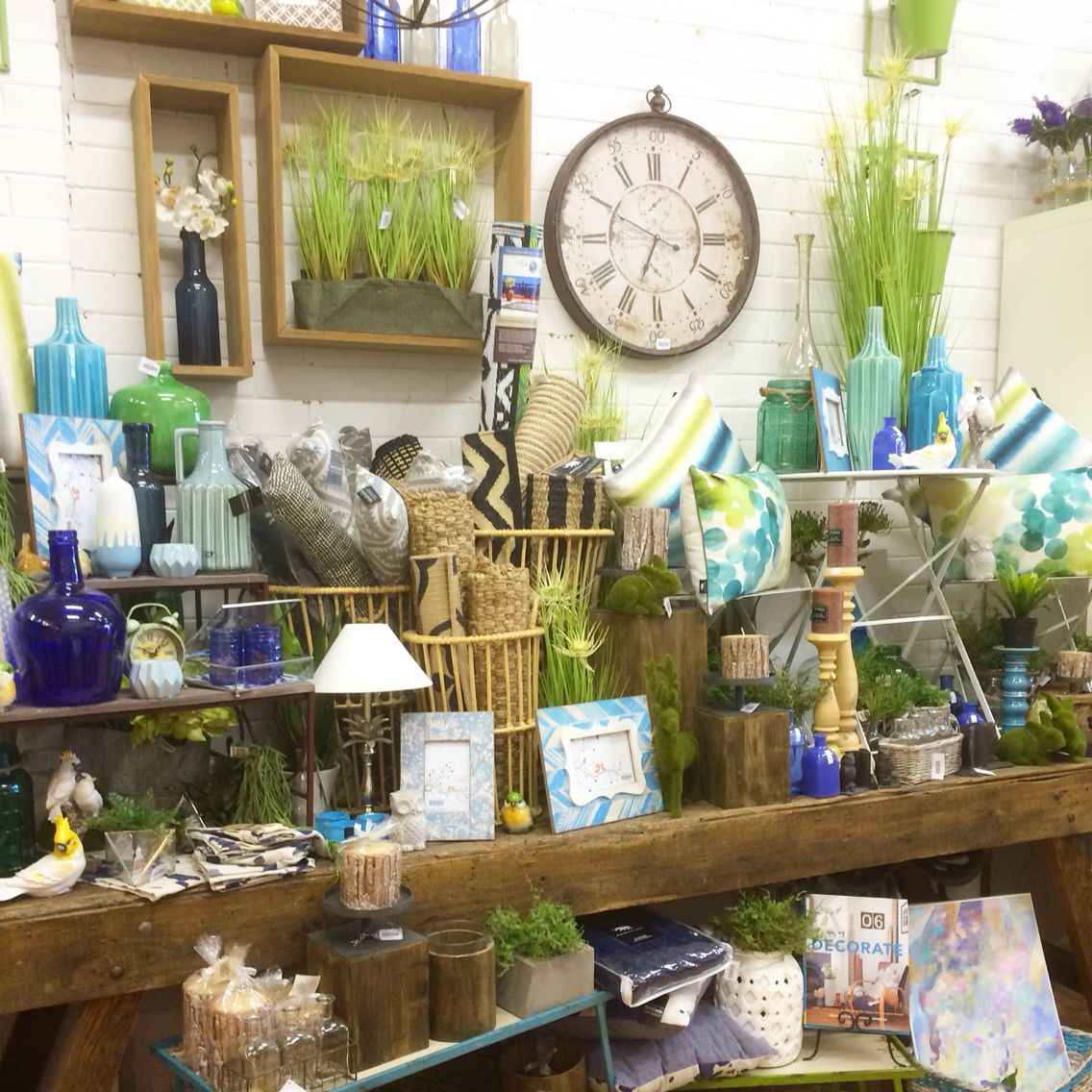 blues lime green and navy shop display visual merchandising our home decor shop - Home Decor Melbourne