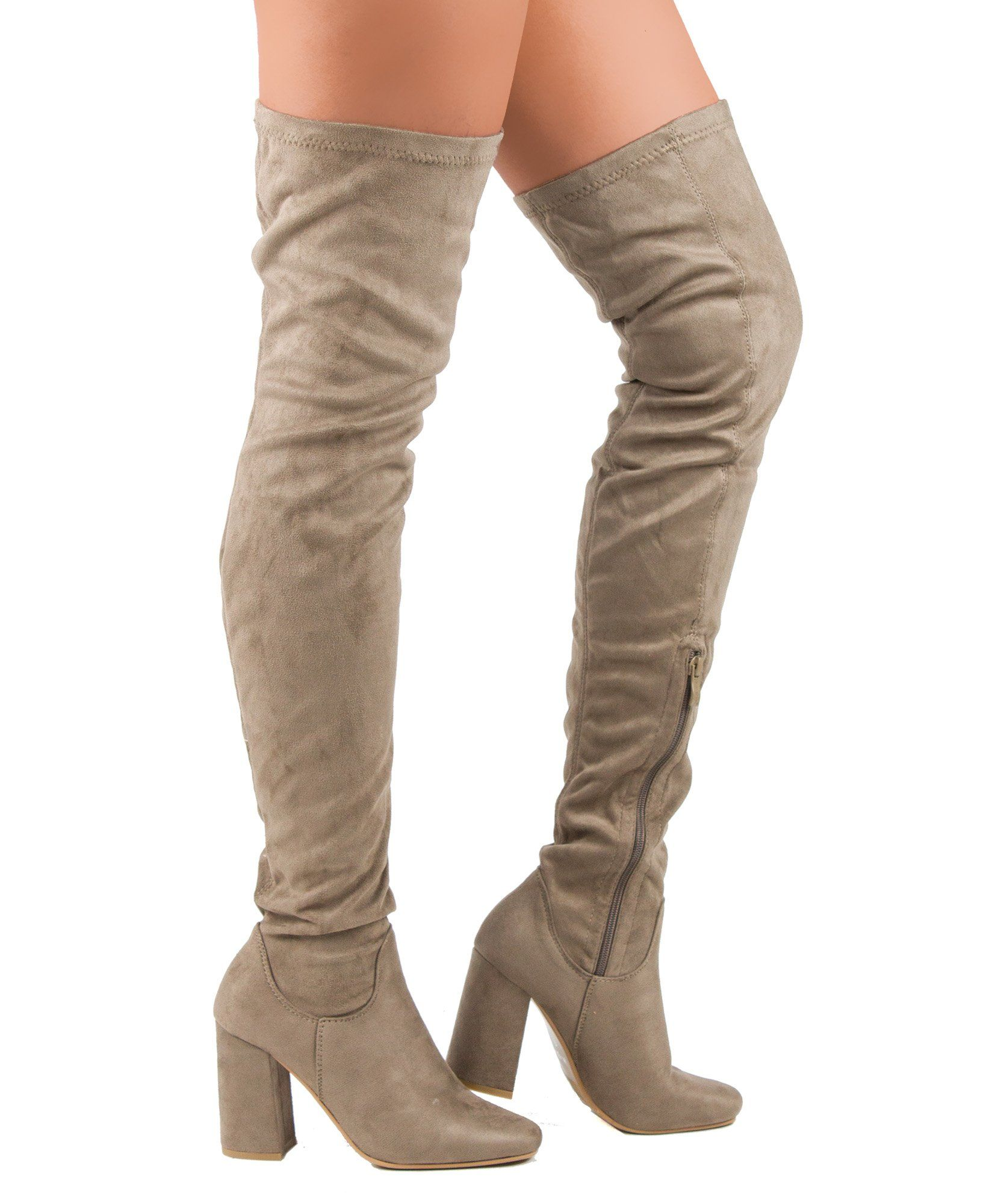 c5f47b8c52cd ... Thigh High Boots. RF ROOM OF FASHION Womens Faux Suede Fitted Flat To  Low Block Heel Over The Knee