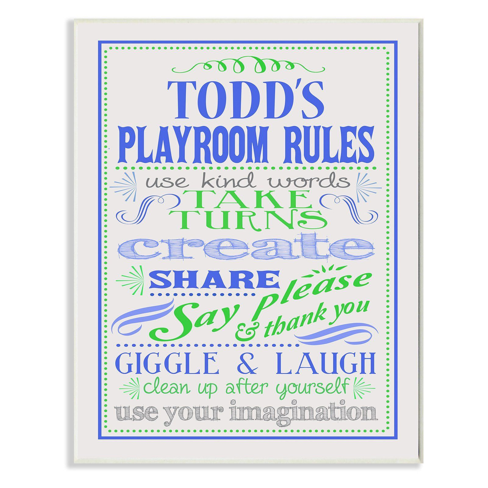 Stupell decor personalized blue and green playroom rules wall plaque