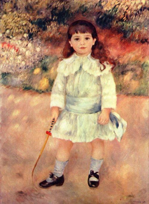 Pierre-Auguste Renoir.  Mädchen mit Peitsche. 1885, Öl auf Leinwand, 105 × 75 cm. St. Petersburg, Eremitage. Frankreich. Impressionismus.  KO 01962
