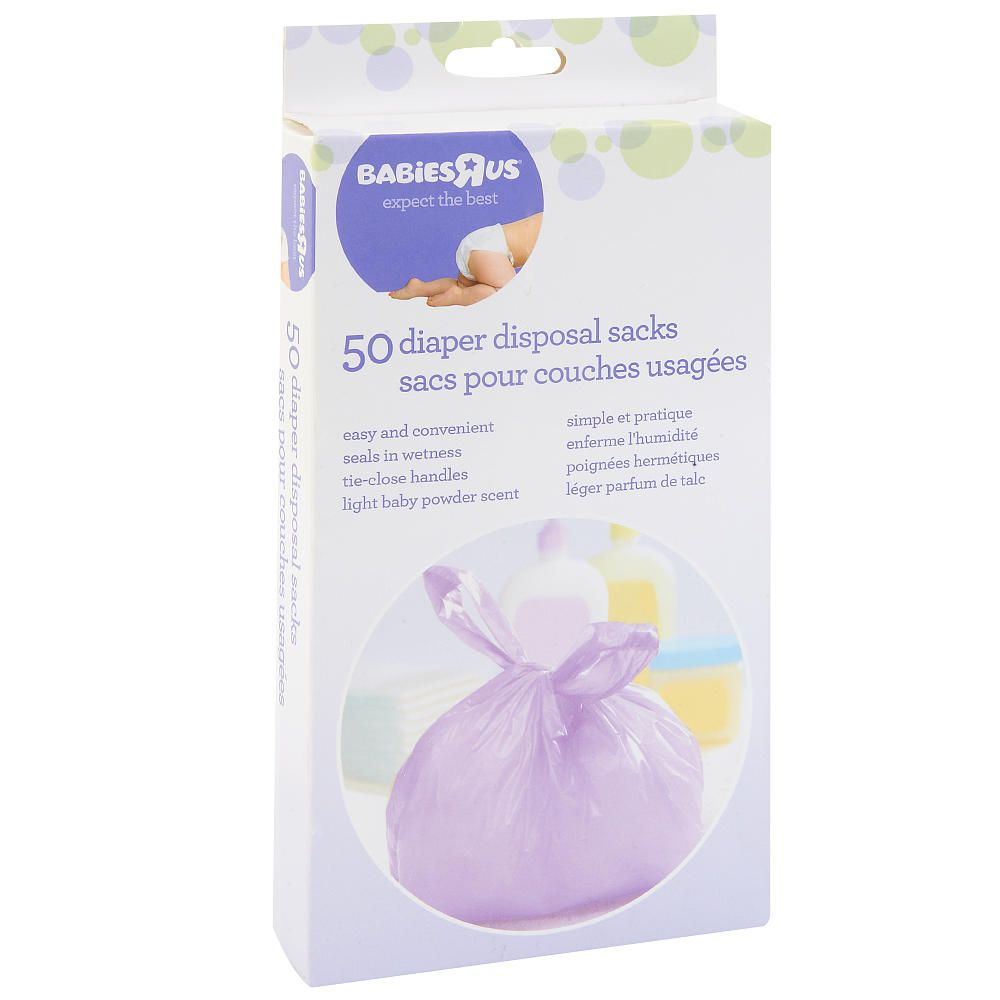 Make quick work of diaper messes with this Babies'R'Us 50-Pack of Diaper Disposal Sacks. The convenient, tie-close bags seal in wetness and feature a pleasant, light baby powder scent. <br><br> The Babies R Us Diaper Disposal Sacks - 50-Pack features:<br><ul><li>Includes 50 bags</li><li>Convenient bags are perfect for diaper disposal</li><li>Designed with tie-close handles</li><li>Bags seal in wetness</li><li>Light baby powder scent masks odors</li><li>Bag Dimensions: 10 x 7…