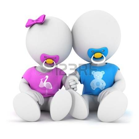 Dos personajes blancos, bebés.