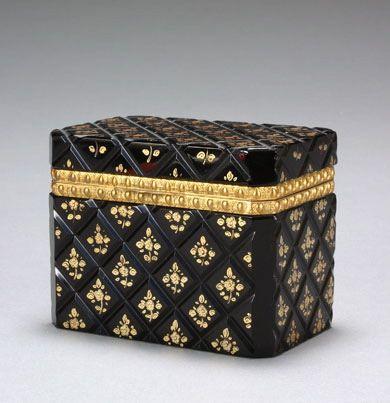 A X CHARLES bronce dorado MONTAJE NEGRO CAJA DE CRISTAL CUT.
