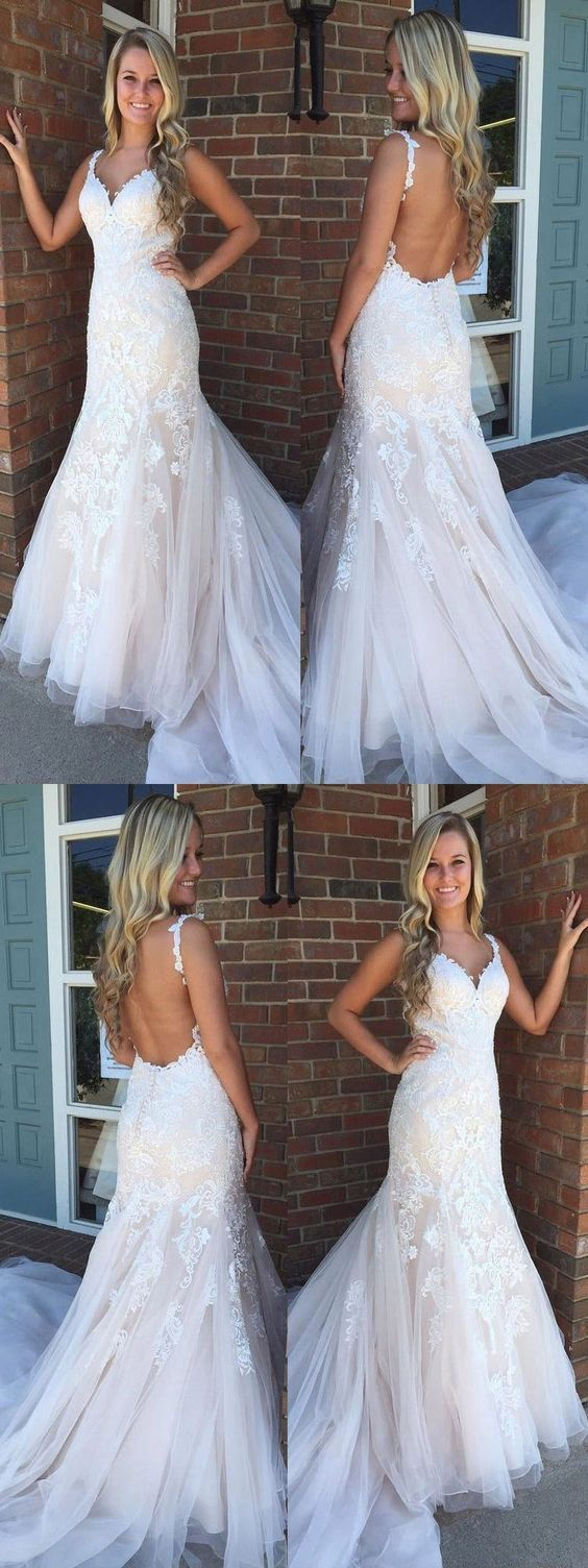 Mermaid prom dresses straps appliques long tulle backless prom dress