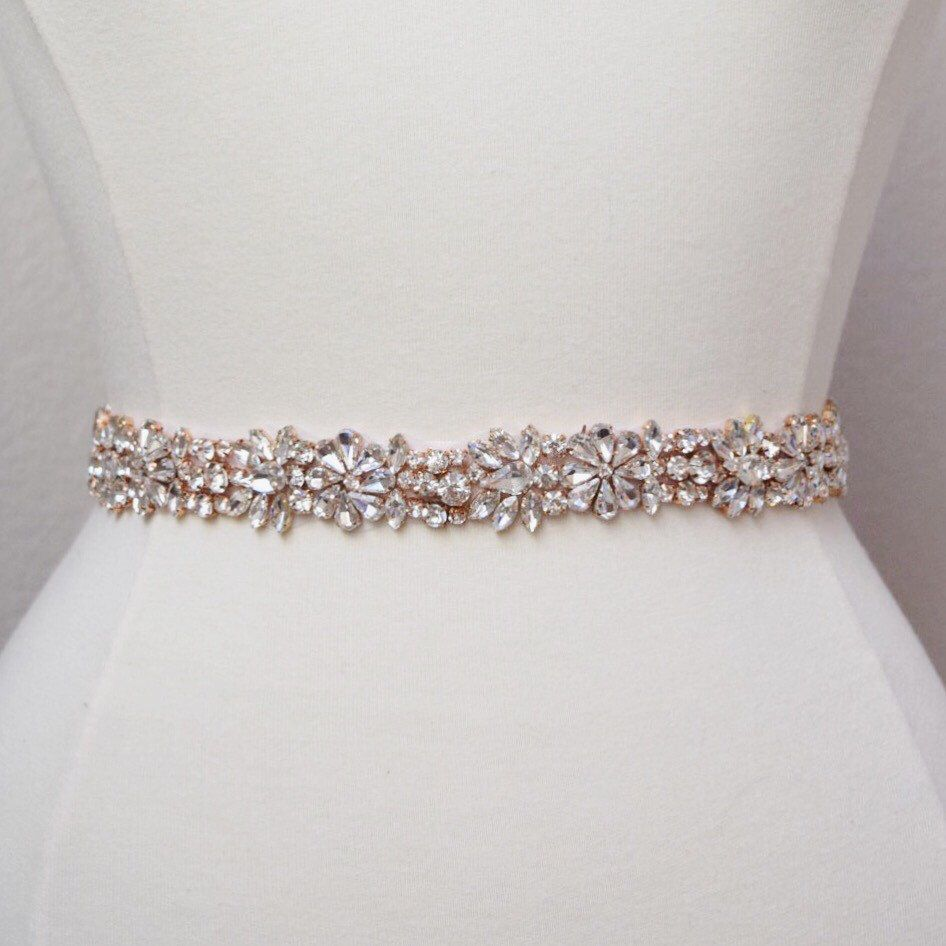 Full Length Rose Gold Rhinestone Bridal Belt All The Way Around Embellished With Clasp Sash Thin