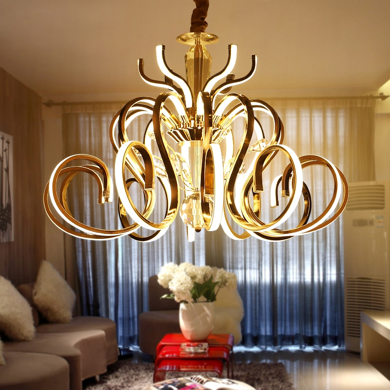 666.33$  Buy now - http://ali4ik.worldwells.pw/go.php?t=32776691612 - Unique Curved Electroplate Chrome / Gold Metal Pendant Light Living Room Luxury Lustre Led Luminaire Suspension Lamp 666.33$