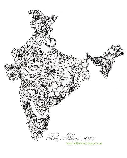 A Little Lime India Map Mandala Design Art India Map Art