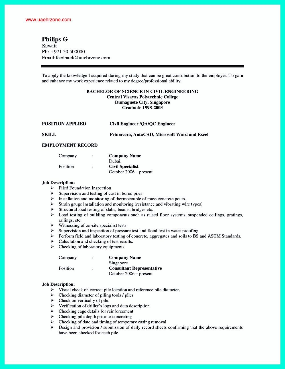 there are so many civil engineering resume samples you can download one of good and - Singapore Resume Sample Download