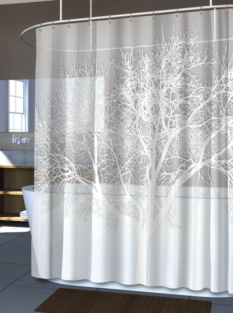 NEW Pearl White Home Tree Vinyl Shower Curtain Modern Bathroom Bath ...
