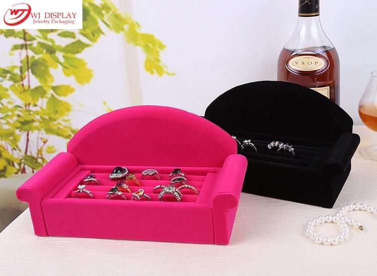 Superior BlackRose Red Velvet Sofa Jewelry Ring Display Tray Case