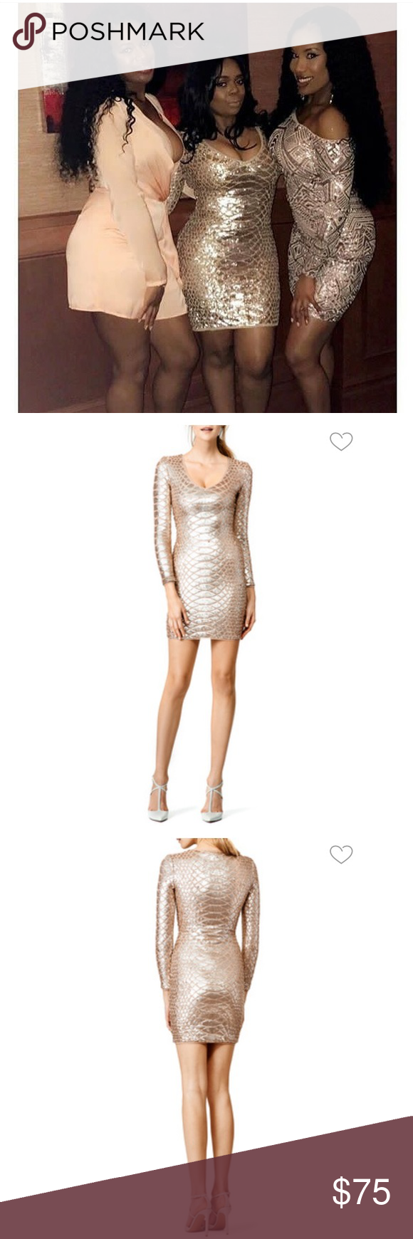 Bcbg rose gold sequin party dress snake print sequins and