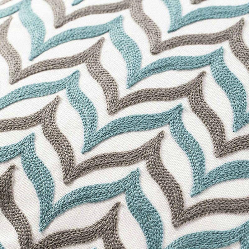 Nordic Modern Stereo Embroidery Two-Color Wave Pattern Water Blue ...