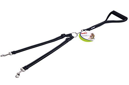 pupteck reflective double dog leash no tangle with handle