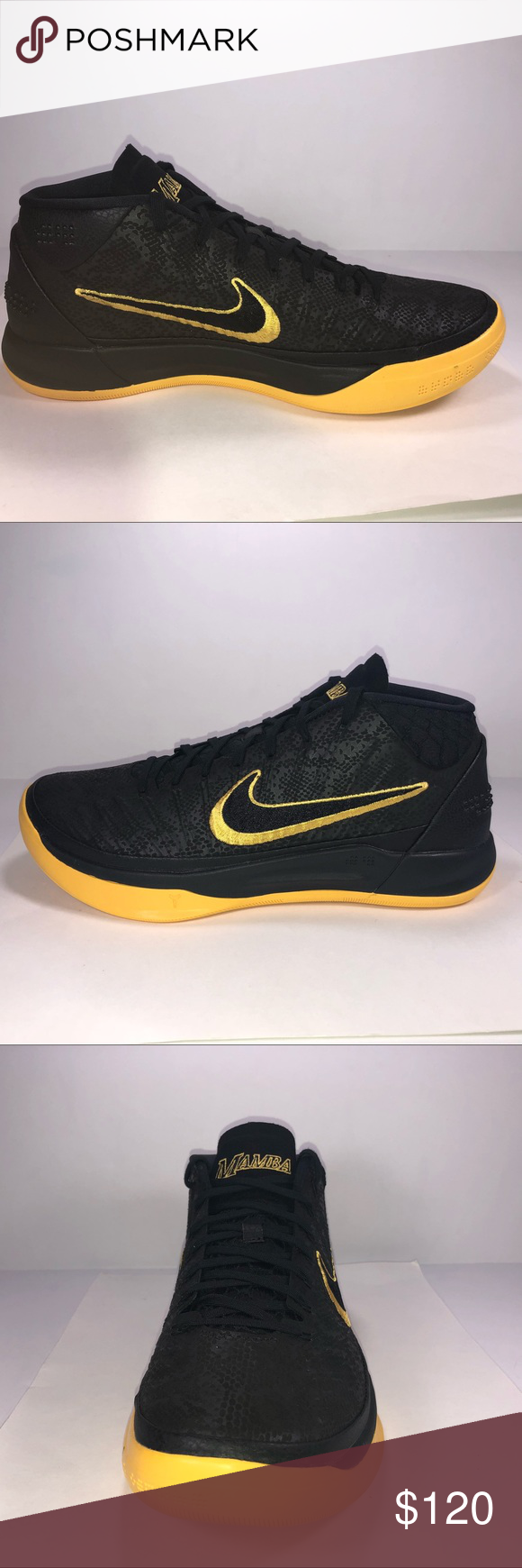 premium selection 2de5f 9915f Kobe AD Mid BM City Edition Black   Yellow Sneaker New With Damaged Box  Missing Lid See Pictures For Details. AQ5164-001 Nike Shoes Sneakers