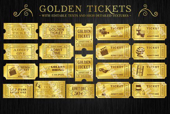 Golden tickets templates set golden ticket template ticket golden tickets templates set filmwisefo